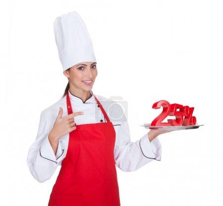 Female Chef Presenting Plate