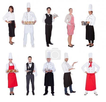 Photo for Restaurant workers, cooks, bullets and waiters. Isolated on white - Royalty Free Image