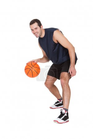 Professional basketball player with ball