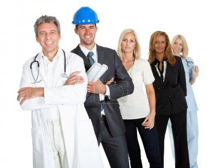 Photo pour Groupe de travail réussi illustrant différentes options de carrière sur blanc - image libre de droit
