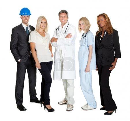 Photo pour Portrait de différentes professions debout ensemble sur blanc - image libre de droit