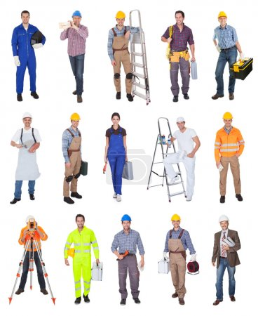 Photo for Industrial construction workers. Isolated on white background - Royalty Free Image