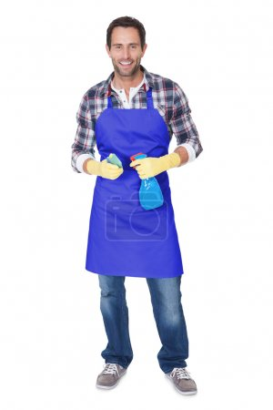 Portrait of a man with sponge and spray