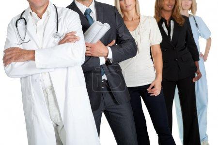 Photo pour Image recadrée de différentes professions sur fond blanc - image libre de droit