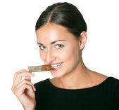 Shopaholic - holding a credit card in mouth