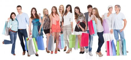 Large group of with shopping bags