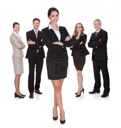 Photo for Portrait of happy businesswoman and her team. Isolated on white - Royalty Free Image