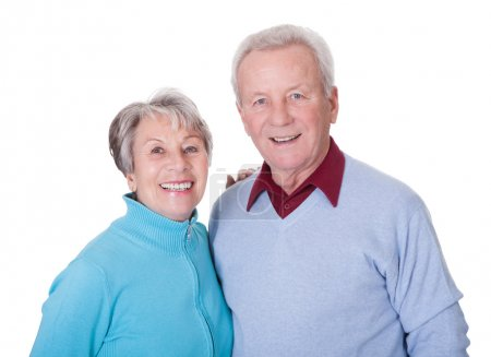 Photo for Portrait Of Happy Senior Couple Isolated Over White Background - Royalty Free Image