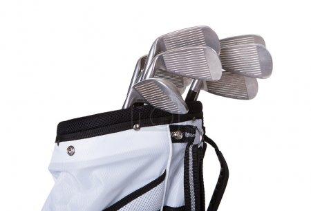 Photo pour Gros plan d'un sac de golf isolé sur fond blanc - image libre de droit