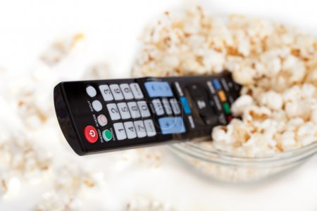 Close-up Of Remote Control In Bowl Of Popcorn