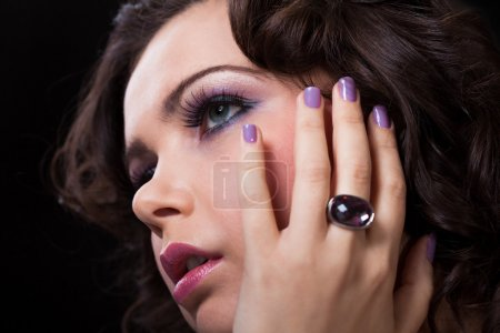 Close-up Of Young Woman Wearing Diamond Ring
