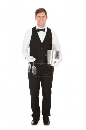 Waiter Holding A Wine Cooler And Champagne Glass