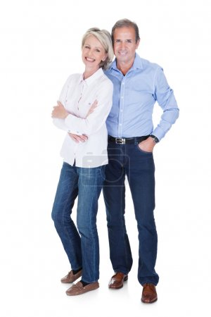 Photo for Portrait Of Happy Mature Lovely Couple Isolated Over White Background - Royalty Free Image