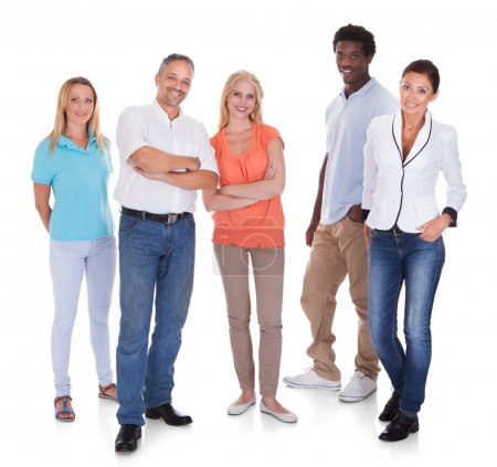 Photo for Happy Casual Group Of People Standing Over White Background - Royalty Free Image