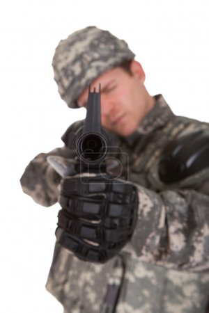 Close-up Of Solider Aiming At Direction