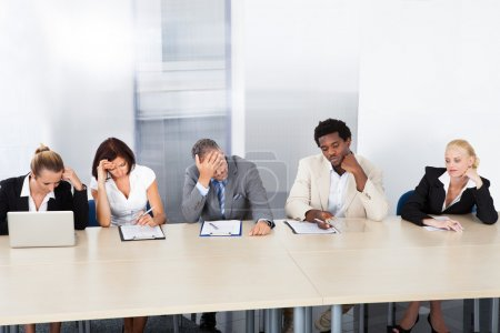 Frustrated Corporate Personnel Officers At Panel