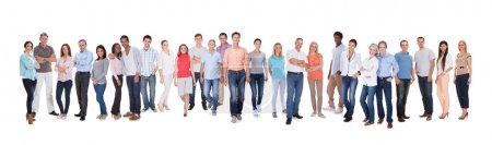 Large group of diverse people. Isolated on white...