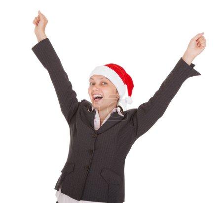 Happy Excited Businesswoman wearing santa hat