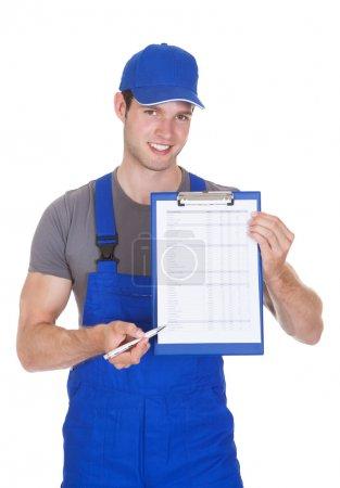 Worker Showing On Clipboard