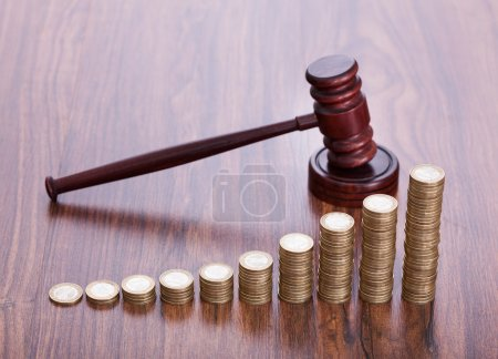 Wooden Gavel With Coins