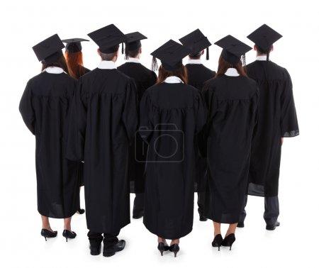 Photo pour Grand groupe d'étudiants diplômés debout dans les robes et les chapeaux de mortier vu de derrière isolé sur blanc - image libre de droit