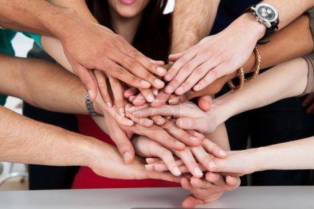 University Students Piling Hands