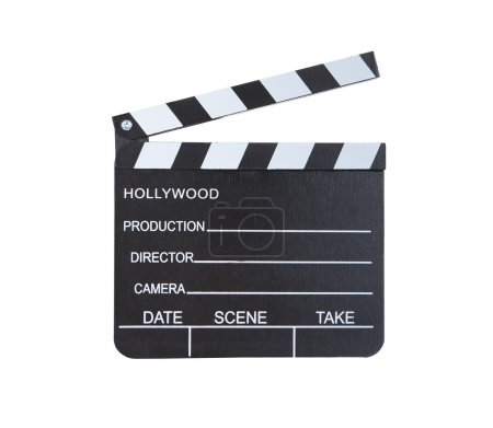 Photo for Close-up of a classical movie clapper ready to record a new Hollywood production  with blank spaces for director  camera  date  scene and take  isolated on white background - Royalty Free Image