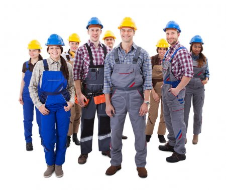 Confident diverse team of workmen and women
