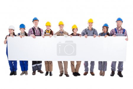 Large diverse multiethnic group of workmen and wom...