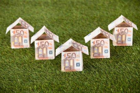 Photo pour Maisons faites de billets en euros sur des terrains herbeux - image libre de droit