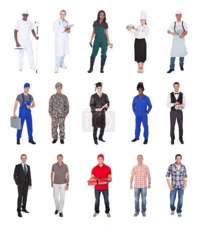 Photo pour Collage de personnes multiethniques occupant diverses professions sur fond blanc - image libre de droit