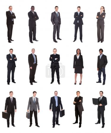Photo pour Collage de divers hommes d'affaires permanent sur fond blanc - image libre de droit