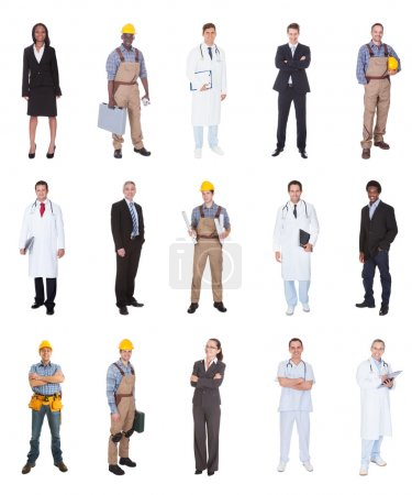 Photo for Collage of multiethnic people with various occupations standing against white background - Royalty Free Image