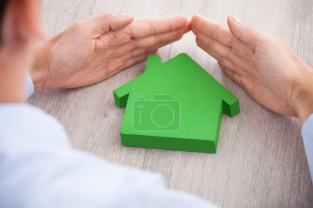 Businessman with Green House Model
