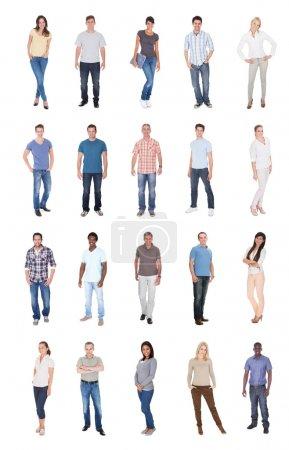Photo pour Collage de personnes multiethniques dans des occasionnels sur fond blanc - image libre de droit