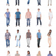Collage of multiethnic people in casuals over whit...