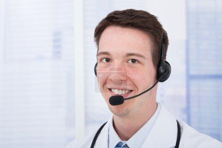 Male Doctor Wearing Headset