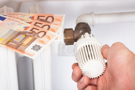 Man Adjusting Thermostat By Euro