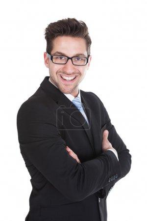 bras de commandes homme d'affaires croisés