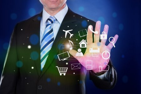 Businessman With Virtual Icons