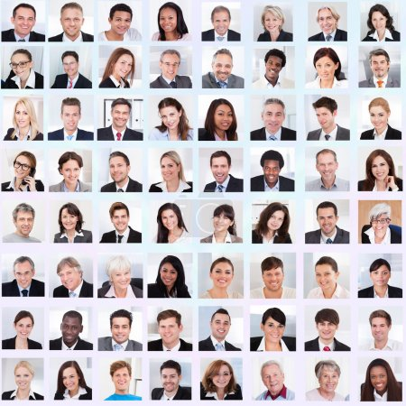 Photo for Collage of diverse multiethnic business people smiling - Royalty Free Image