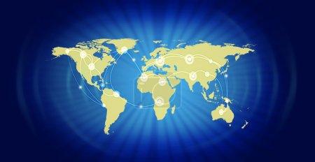 Photo pour Illustration de la carte du monde représentant commercial mondial sur fond bleu. source de la carte de référence fournie par la nasa - image libre de droit