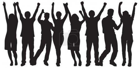 Illustration pour Grand groupe de personnes célébrant. image vectorielle - image libre de droit