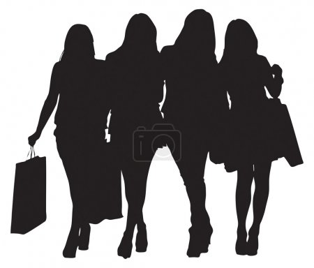 Illustration for Four young female shoppers. Vector image - Royalty Free Image