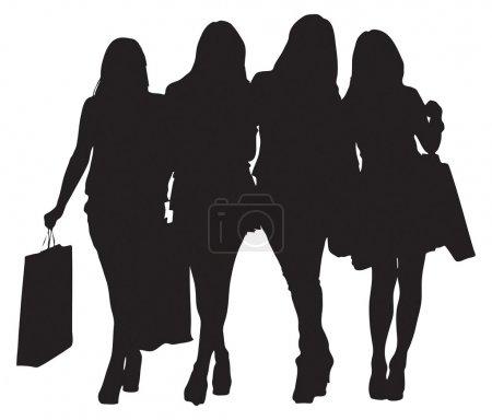 Illustration pour Quatre jeunes femmes font des achats. Image vectorielle - image libre de droit