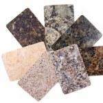 Granite kitchen worktop samples isolated on white...