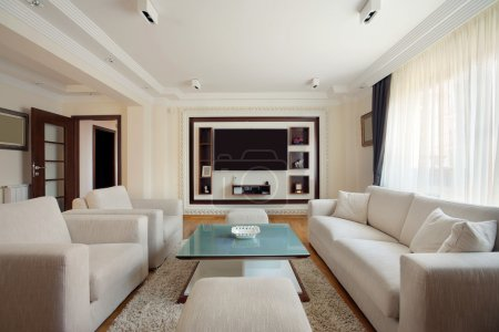 Photo for Interior of a modern living room in white. - Royalty Free Image