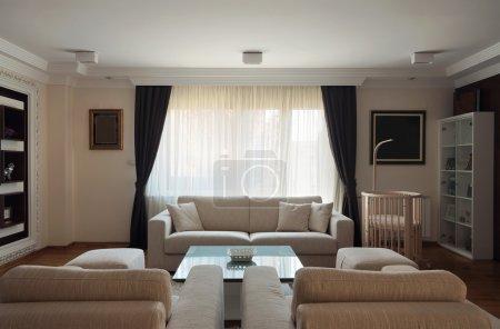 Photo pour Intérieur d'un salon moderne en blanc . - image libre de droit