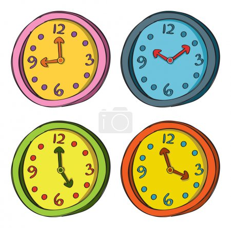 Illustration for Clock in various color - Royalty Free Image