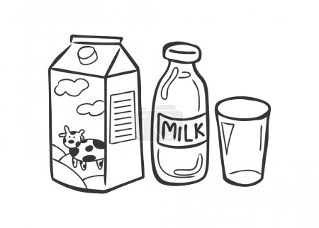 Milk and dairy product doodle